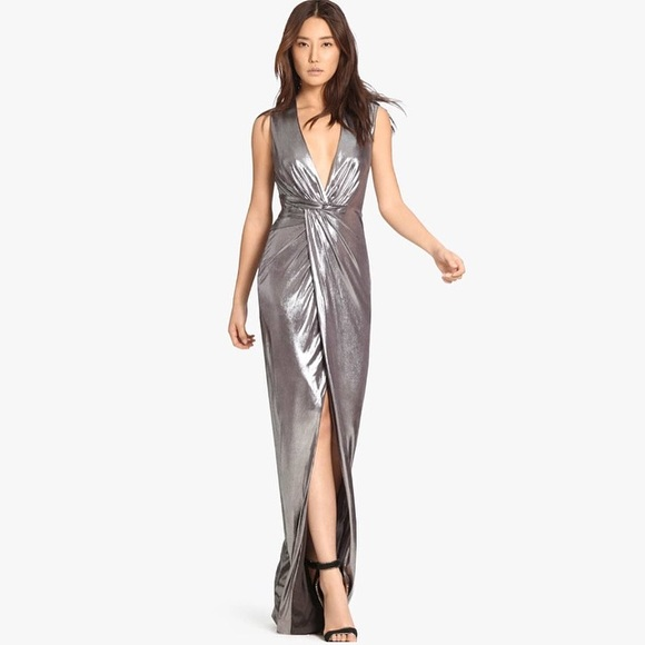 4fa8dde845b Halston Heritage Dresses | Metallic Jersey Gown With Twist | Poshmark